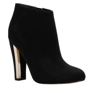 Black Block Heel Round Toe Heeled Ankle Shootie